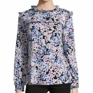 Karl Lagerfeld Blouse White Black Blue Floral XL